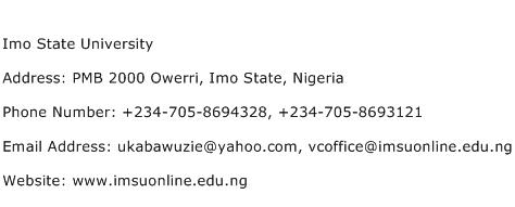 Imo State University Address, Contact Number of Imo State