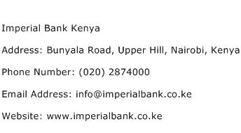 Imperial Bank Kenya Address Contact Number