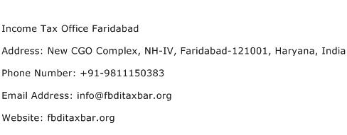 Income Tax Office Faridabad Address Contact Number