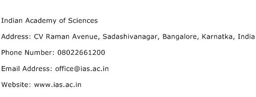 Indian Academy of Sciences Address Contact Number
