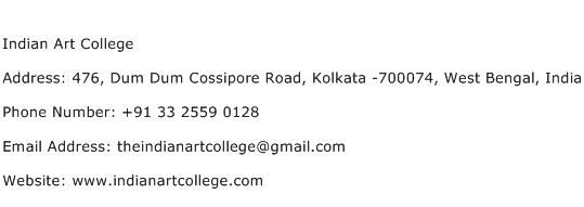Indian Art College Address Contact Number