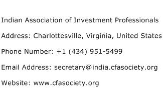 Indian Association of Investment Professionals Address Contact Number