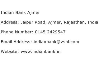 Indian Bank Ajmer Address Contact Number