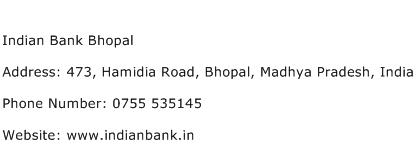 Indian Bank Bhopal Address Contact Number