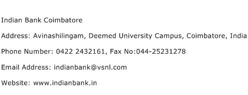 Indian Bank Coimbatore Address Contact Number