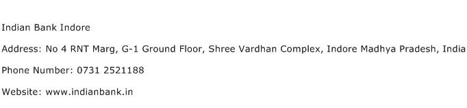 Indian Bank Indore Address Contact Number
