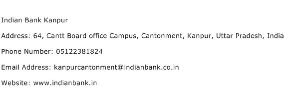 Indian Bank Kanpur Address Contact Number