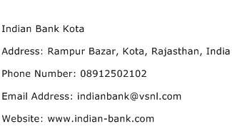 Indian Bank Kota Address Contact Number