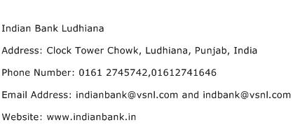Indian Bank Ludhiana Address Contact Number