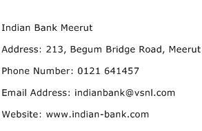Indian Bank Meerut Address Contact Number