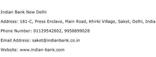 Indian Bank New Delhi Address Contact Number