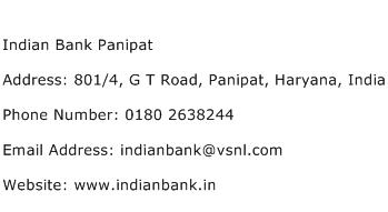 Indian Bank Panipat Address Contact Number
