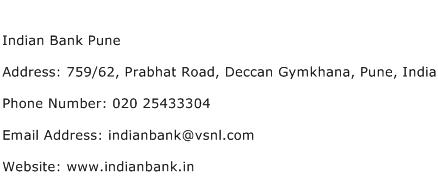 Indian Bank Pune Address Contact Number