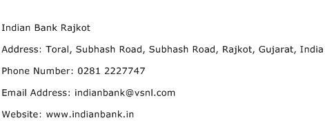 Indian Bank Rajkot Address Contact Number