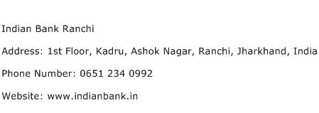 Indian Bank Ranchi Address Contact Number