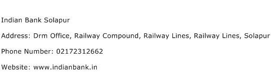 Indian Bank Solapur Address Contact Number