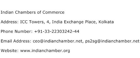 Indian Chambers of Commerce Address Contact Number