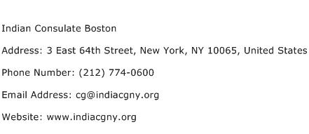 Indian Consulate Boston Address Contact Number