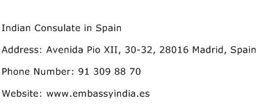 Indian Consulate in Spain Address Contact Number
