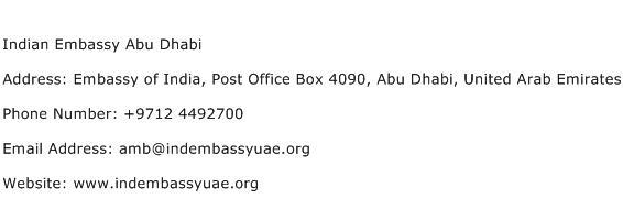 Indian Embassy Abu Dhabi Address Contact Number