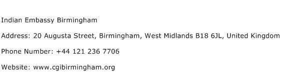 Indian Embassy Birmingham Address Contact Number