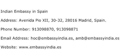 Indian Embassy in Spain Address Contact Number