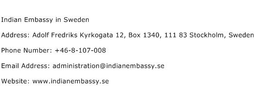 Indian Embassy in Sweden Address Contact Number