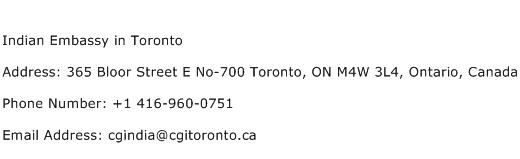 Indian Embassy in Toronto Address Contact Number