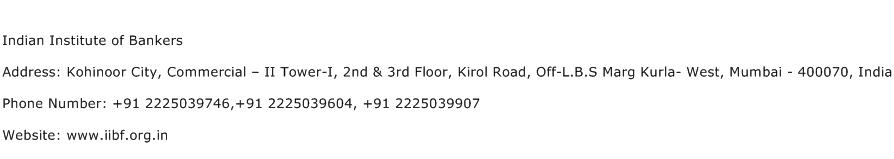 Indian Institute of Bankers Address Contact Number