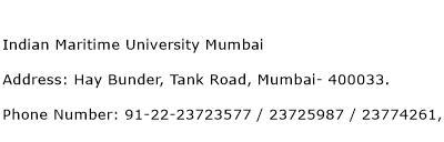 Indian Maritime University Mumbai Address Contact Number