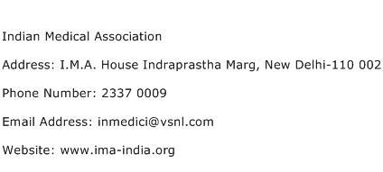 Indian Medical Association Address Contact Number