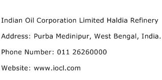 Indian Oil Corporation Limited Haldia Refinery Address Contact Number