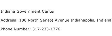 Indiana Government Center Address Contact Number