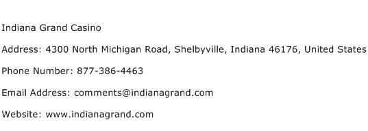 Indiana Grand Casino Address Contact Number