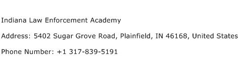 Indiana Law Enforcement Academy Address Contact Number