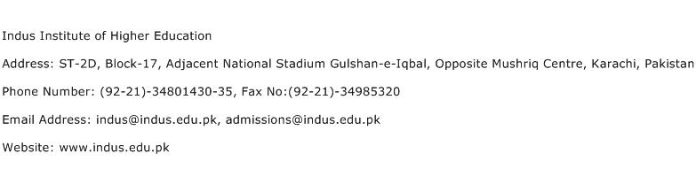 Indus Institute of Higher Education Address Contact Number