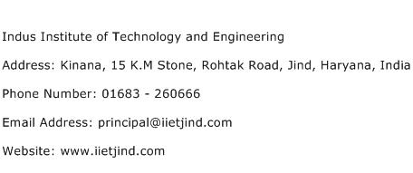 Indus Institute of Technology and Engineering Address Contact Number