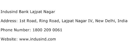 Indusind Bank Lajpat Nagar Address Contact Number