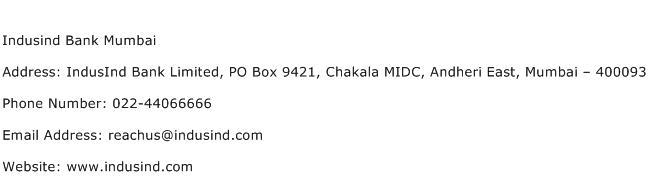 Indusind Bank Mumbai Address Contact Number