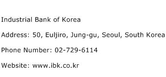 Industrial Bank of Korea Address Contact Number