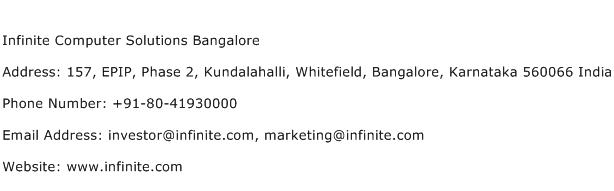 Infinite Computer Solutions Bangalore Address Contact Number