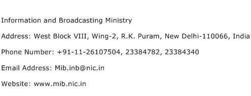 Information and Broadcasting Ministry Address Contact Number