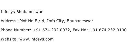 Infosys Bhubaneswar Address Contact Number