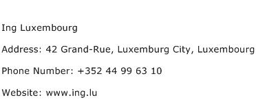 Ing Luxembourg Address Contact Number