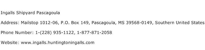 Ingalls Shipyard Pascagoula Address Contact Number