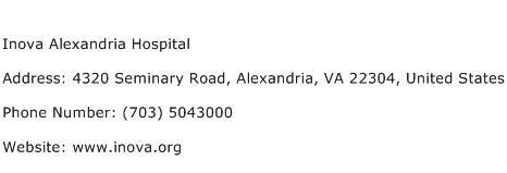 Inova Alexandria Hospital Address Contact Number