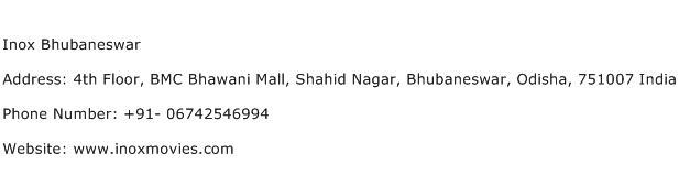 Inox Bhubaneswar Address Contact Number