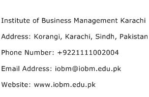 Institute of Business Management Karachi Address Contact Number