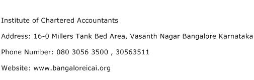 Institute of Chartered Accountants Address Contact Number