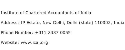 Institute of Chartered Accountants of India Address Contact Number
